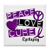 PEACE LOVE CURE Epilepsy (L1) Tile Coaster
