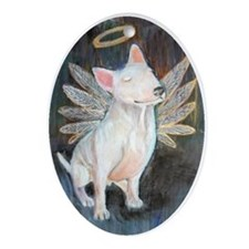 Angel Bull Terrier Oval Ornament