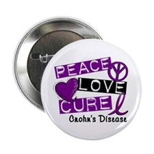 "PEACE LOVE CURE Crohns (L1) 2.25"" Button (100 pack"
