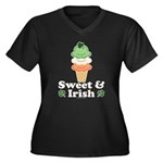 Sweet and Irish Women's Plus Size V-Neck Dark T-Sh