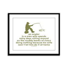 Humorous Fishing Framed Panel Print
