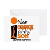 I Wear Orange For My Son 9 Leukemia Greeting Card