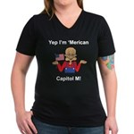 Yep. I'm 'Merican Women's V-Neck Dark T-Shirt