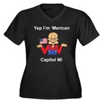 Yep. I'm 'Merican Women's Plus Size V-Neck Dark T-