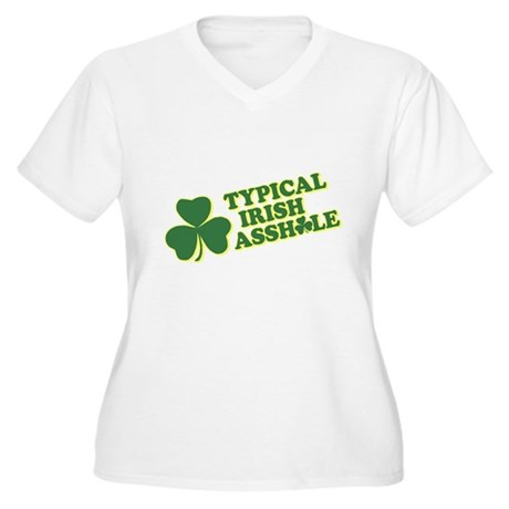 Typical Irish Asshole Womens Plus Size V-Neck T-S