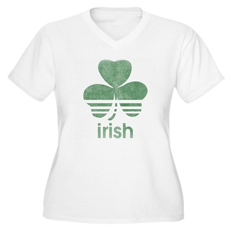 Vintage Irish Logo Womens Plus Size V-Neck T-Shir