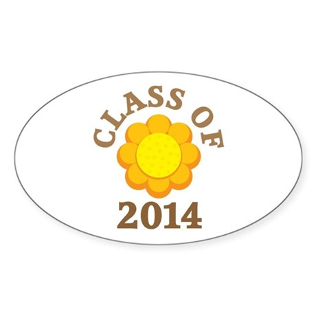 Sunflower Class Of 2014 Oval Sticker