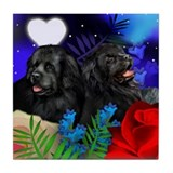NEWFOUNDLAND DOGS LOVE MOON Tile Coaster