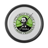Obama St. Patricks Day Large Wall Clock