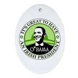 Obama St. Patricks Day Oval Ornament