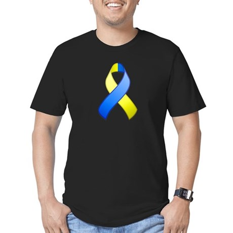 Blue and Yellow Awareness Ribbon Men's Fitted T-Sh
