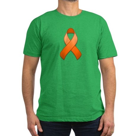Orange Awareness Ribbon Men's Fitted T-Shirt (dark