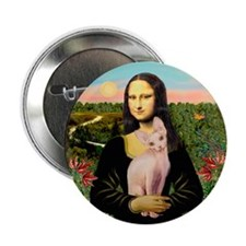 "Sphynx Cat & Mona Lisa 2.25"" Button (10 pack)"