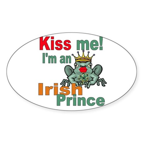 Kiss Me Irish Frog Oval Sticker