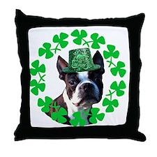 Kiss me I'm Irish Boston terr Throw Pillow