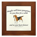 Beagle Pawprints Framed Tile