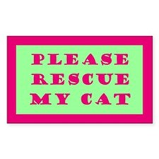 Pink & Green Rescue My Cat Sticker - 10 Pack