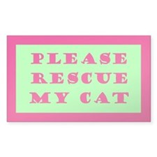 Pink & Green Rescue My Cat Emergency Decal
