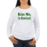 Kiss Me, I'm Shitfaced! Women's Long Sleeve T-Shir
