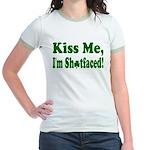 Kiss Me, I'm Shitfaced! Jr. Ringer T-Shirt