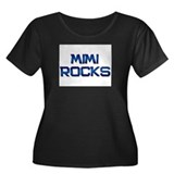 mimi rocks Women's Plus Size Scoop Neck Dark T-Shi