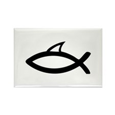 jesus symbol fun shark fin Rectangle Magnet (10 pa