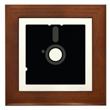 black floppy disc oldschool Framed Tile