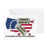 Proud Mom of 2 US Army Soldiers Greeting Cards (Pk