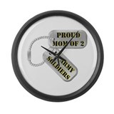 Proud Mom of 2 US Army Soldiers Large Wall Clock