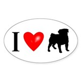 I LUV Pug Oval Sticker (10 pk)