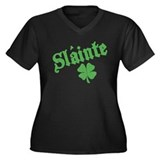 Slainte with Four Leaf Clover Women's Plus Size V-