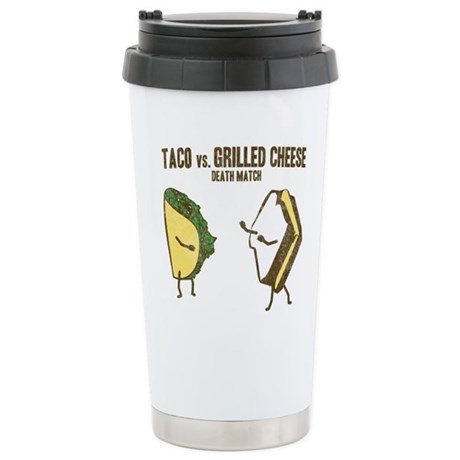 Taco VS Grilled Cheese Ceramic Travel Mug