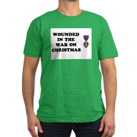 War On Christmas Wounded Men's Fitted T-Shirt (dar
