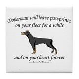 Doberman Pawprints Tile Coaster