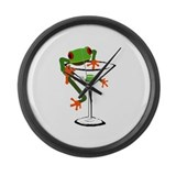 Frog and Martini Large Wall Clock