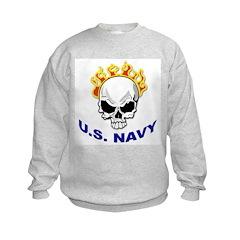 U.S. Navy Skull on Fire Kids Sweatshirt