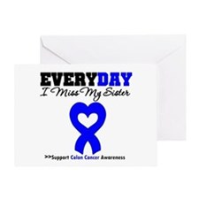 ColonCancerHeart Sister Greeting Card