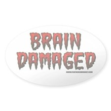 Brain Damaged Oval Sticker (10 pk)