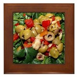 Green Olive and Capers Salad Framed Tile