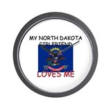 My North Dakota Girlfriend Loves Me Wall Clock