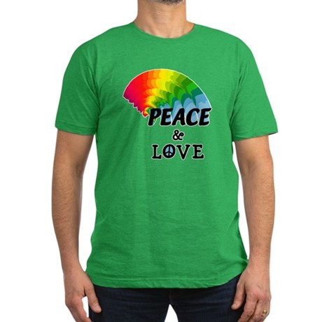 Rainbow Peace and Love Men's Fitted T-Shirt (dark)