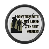 Cute Proud dad of 2 us army soldiers Large Wall Clock