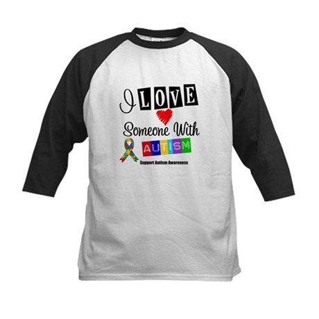 I Love Someone Autism Kids Baseball Jersey