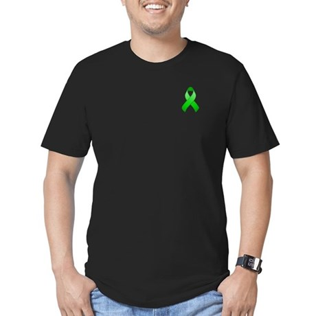 Green Awareness Ribbon Men's Fitted T-Shirt (dark)