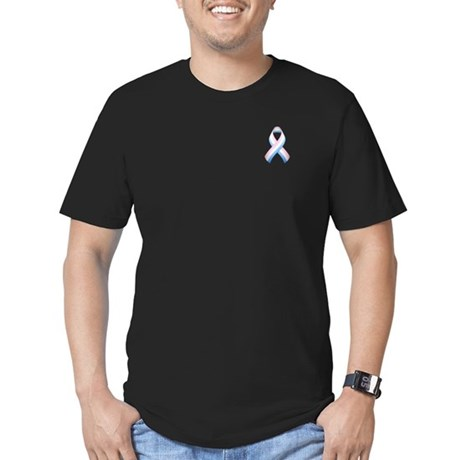 Pink White & Blue Ribbon Men's Fitted T-Shirt (dar