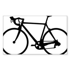 Racer Bicycle black Rectangle Sticker 50 pk)