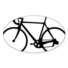 Racer Bicycle black Oval Sticker (10 pk)