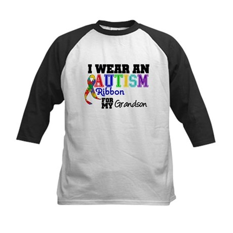 Autism Ribbon Grandson Kids Baseball Jersey
