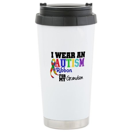 Autism Ribbon Grandson Ceramic Travel Mug