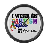 Autism Ribbon Grandson Large Wall Clock